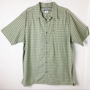 Columbia Sports Shirt Green Plaid Button Front XXL